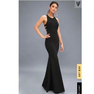 Lulu's POWER OF WOW BLACK BACKLESS MAXI DRESS